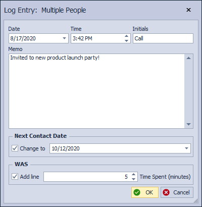 Multiple Contact Log Entry