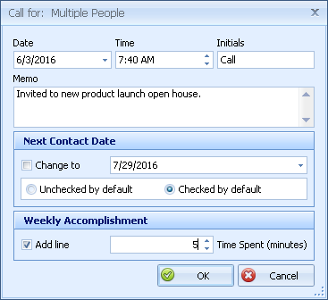 Multiple Call Note