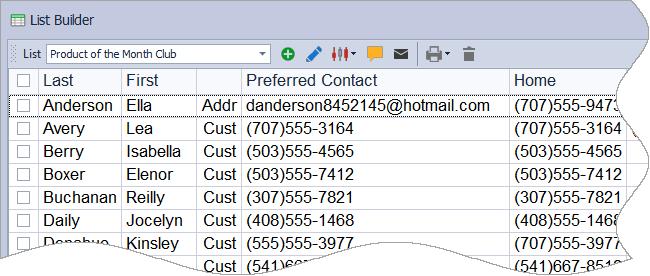 List Builder Shortcut & Tool bar