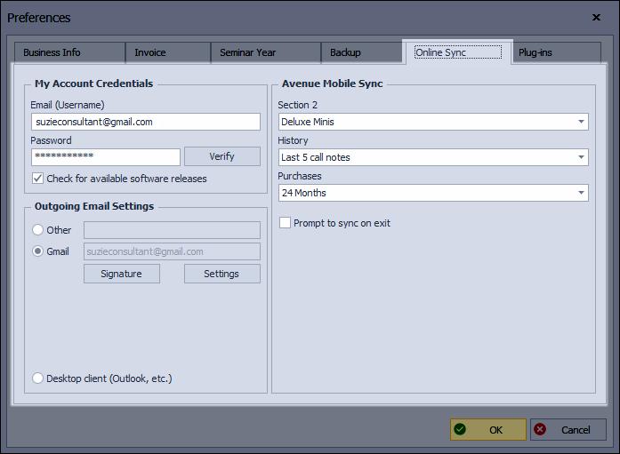 Preferences: Online Sync Tab