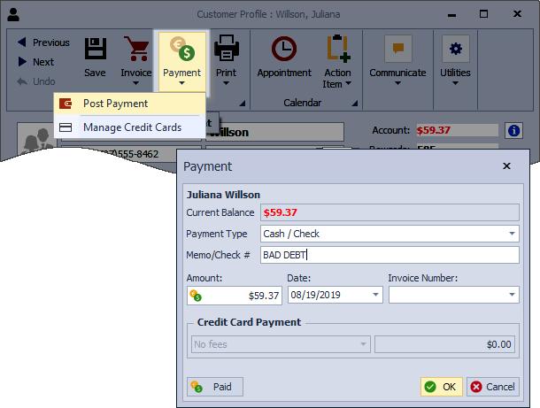 Bad Debt Payment