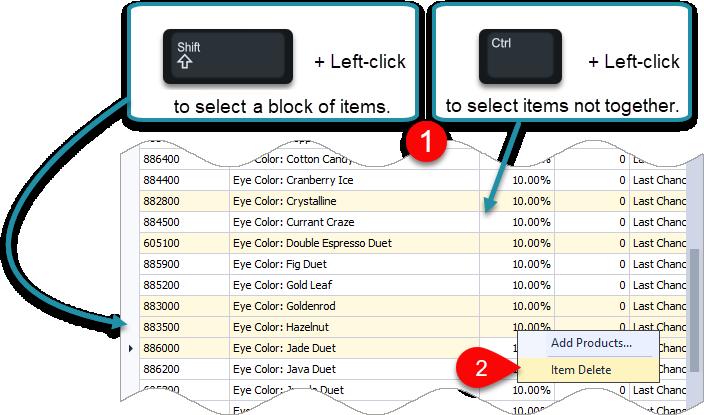 Control, Shift Key & Right-Click Options