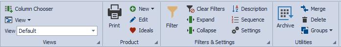 Product List toolbar